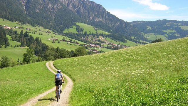 Cykla i fantastiska ängs landskap